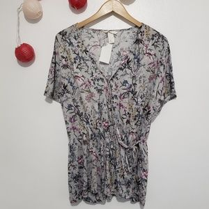 H&M Floral wrap front tied blouse NWT L